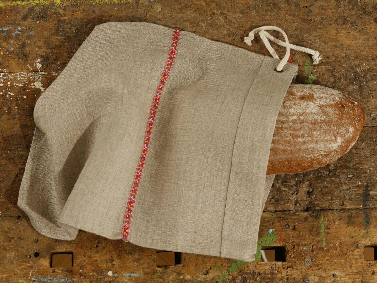 Ľanové vrecúško na chlieb - červená krojovka